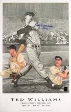 Ted Williams autographed limited edition print. Large format print based on original artwork by Lewis Watkins has been signed,