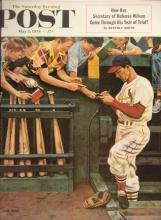 Stan Musial autographed large format Saturday Evening Post print. Oversized reproduction of the icon publication cover on which he is pictured has been signed