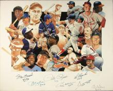 3,000 Hit Club autographed original artwork by Craig Pursley. Outstanding collage artwork depicts the most prolific hitters of All-Time. Signing within the lower front portion are (8) incl. Musial, Yastrzemski, Rose, Carew, Brock, Mays, Aaron, and