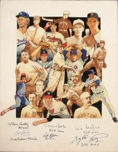 300 Win Club autographed original artwork by Craig Pursley. Oil on canvas tastefully displays the majority of pitchers whom have reached the elusive plateau. Signed within the lower white border portion by (8) incl. Seaver, Perry, Carlton, Niekro,