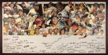 Exceptional Baseball Hall of Famers autographed original oil painting by Craig Pursley. Large format original oil on canvas with exceptionally well done collage of player likenesses filling the upper portion, all shown in familiar poses and