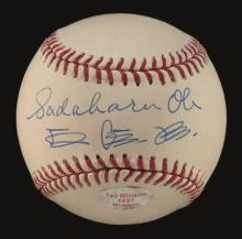 Sadaharu Oh single signed baseball. Rawlings B.Selig OML baseball has been signed on the sweetspot by Oh in both English and Japanese. Blue ink signature rates 8 out of 10. Ball has minute flaw to stampings mentioned for accuracy (not visible when