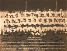 1961 New York Yankees autographed print (World Series Champions). Sepia toned team photograph has been signed by (25) incl. Mantle, Berra, Ford, Richardson, Blanchard, and Torgeson. Blue marker signatures rate 8 to 9/10 out of 10. Framed to 16