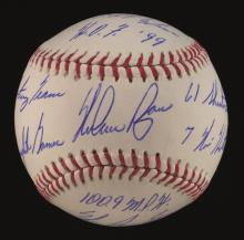 Nolan Ryan stat inscribed single signed baseball. Rawlings B.Selig OML baseball has been signed on the sweetspot by Ryan in blue ink rating 9 out of 10. In addition, Ryan has hand inscribed (9) career related stats with all ideally positioned for
