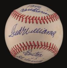 Ted Williams single signed baseball with extremely rare 1946 World Series related inscriptions. Rawlings B.Brown OAL baseball has been signed on the sweetspot,