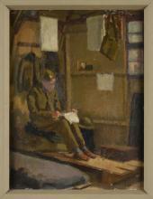 "Arthur Stewart Mackay, British, (1909 - 1998), ""The Note Home,"" oil on board"