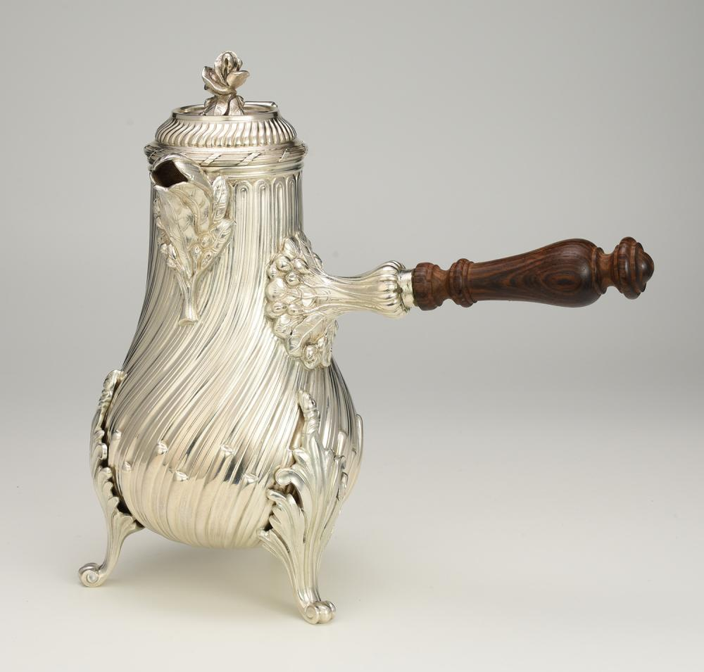 Exceptional Tiffany & Company sterling silver chocolate pot in the Rococo style after a model by Francois Germain (1726 - 1791)