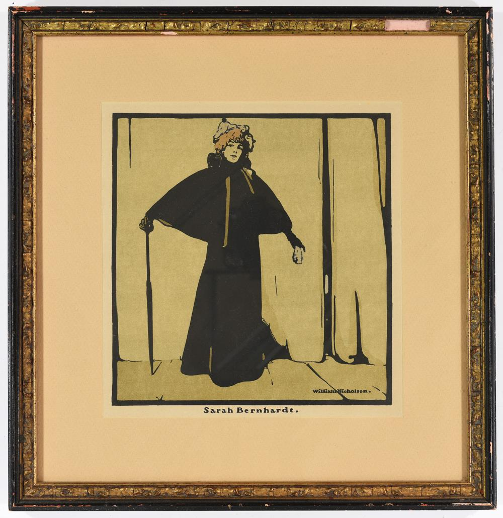 """Sir William Nicholson (British, 1872 - 1949), """"Sarah Bernhardt,"""" lithographic"""