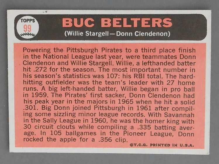 1966 Topps Baseball Card 99 Willie Stargell Donn Clendenon