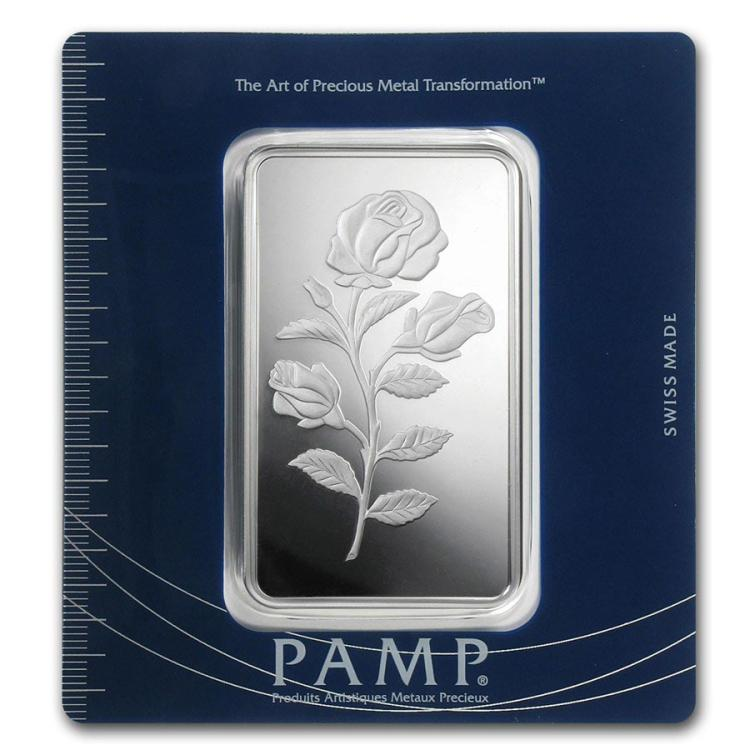 100 Gram Silver Bar Pamp Suisse Rosa In Assay Irs22198