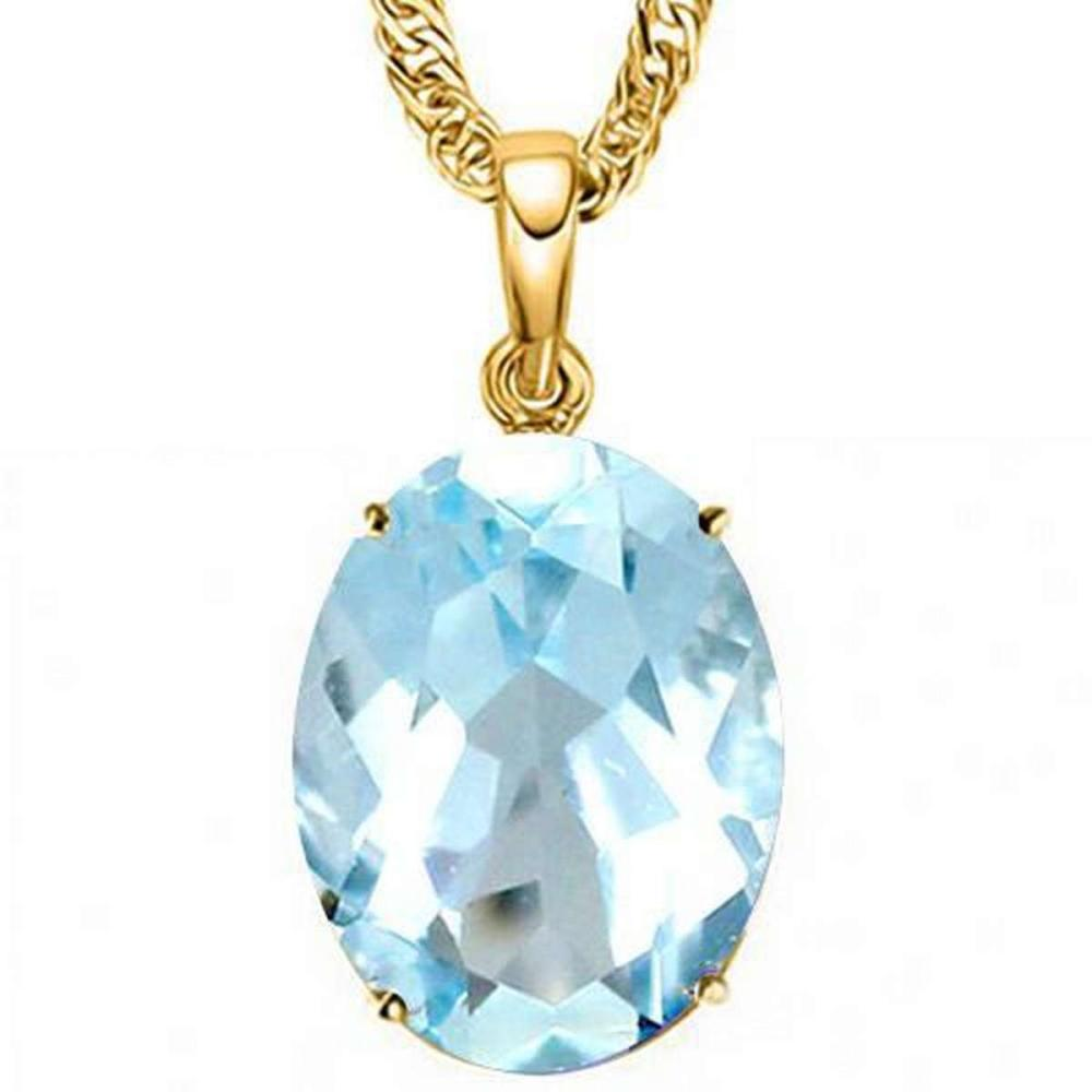 Lot 9114000: 0.9 CTW SKY BLUE TOPAZ 10K SOLID YELLOW GOLD OVAL SHAPE PENDANT #IRS36929