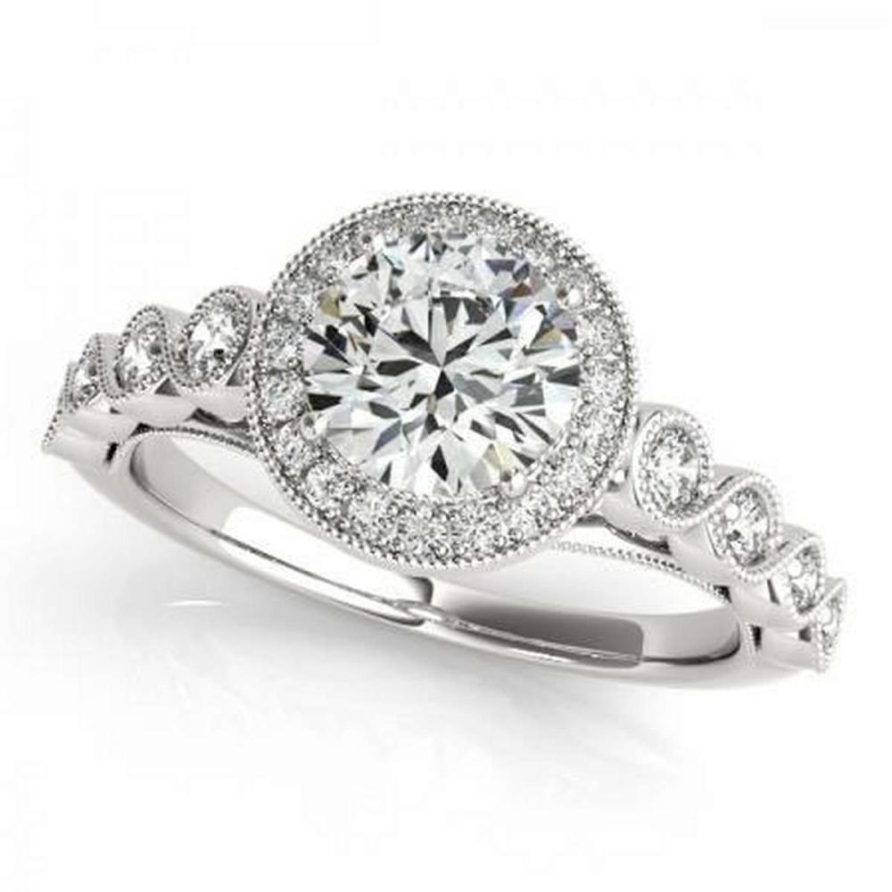 Lot 9114003: CERTIFIED 18KT WHITE GOLD 1.26 CTW G-H/VS-SI1 DIAMOND HALO ENGAGEMENT RING #IRS86707