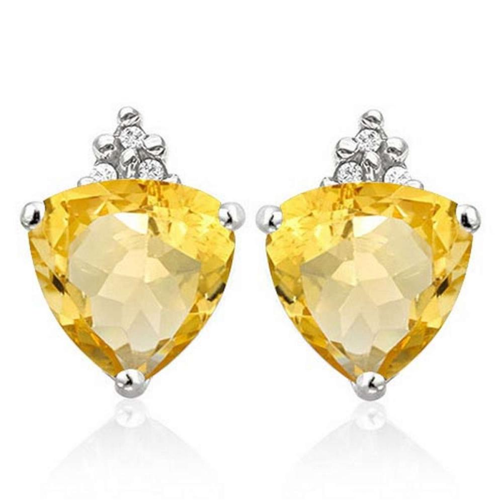 Lot 9114006: 1.4 CARAT CITRINE 10K SOLID WHITE GOLD TRILLION SHAPE EARRING WITH 0.03 CTW DIAMOND #IRS50298