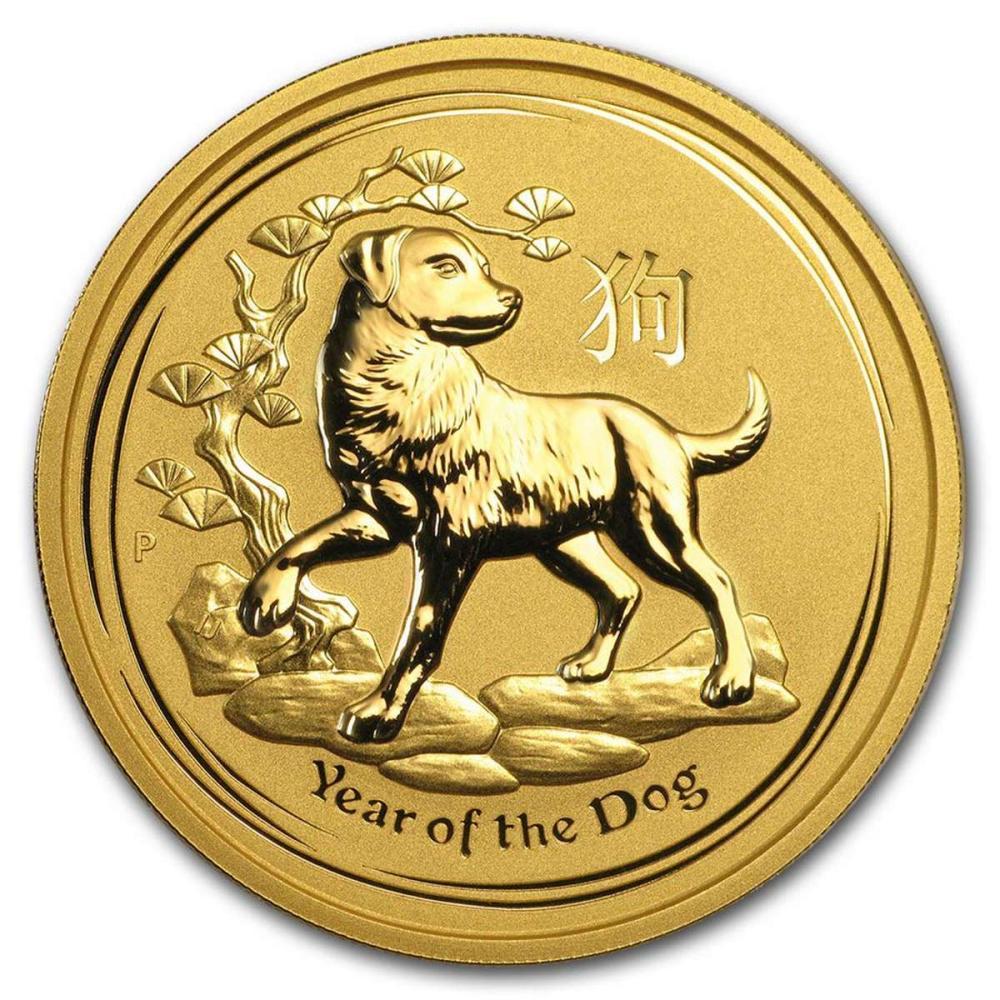 Lot 9114005: Australian Series II Lunar Gold 2 Ounce 2018 Dog #IRS95860