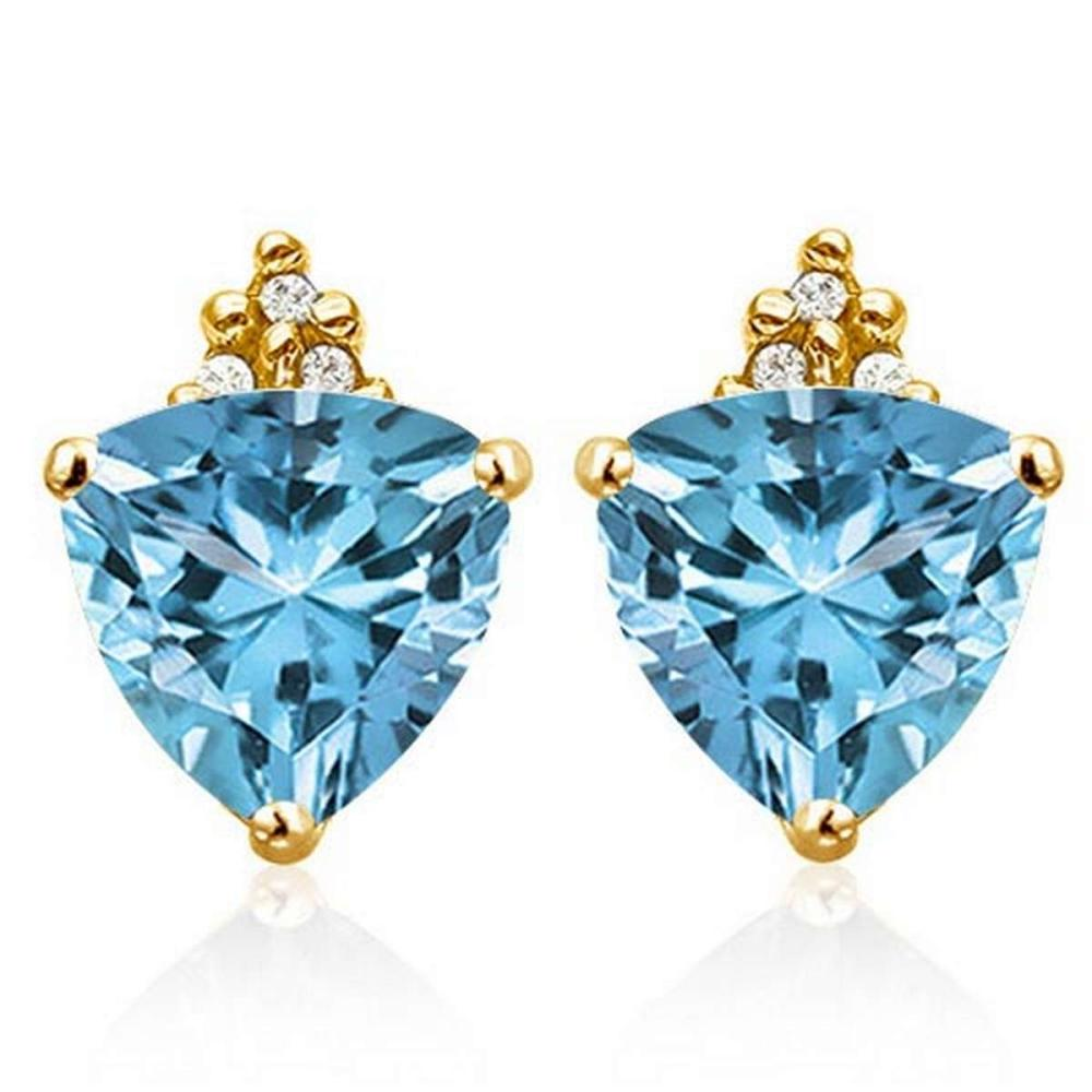 1.55 CARAT SKY BLUE TOPAZ 10K SOLID YELLOW GOLD TRILLION SHAPE EARRING WITH 0.03 CTW DIAMOND #IRS50323