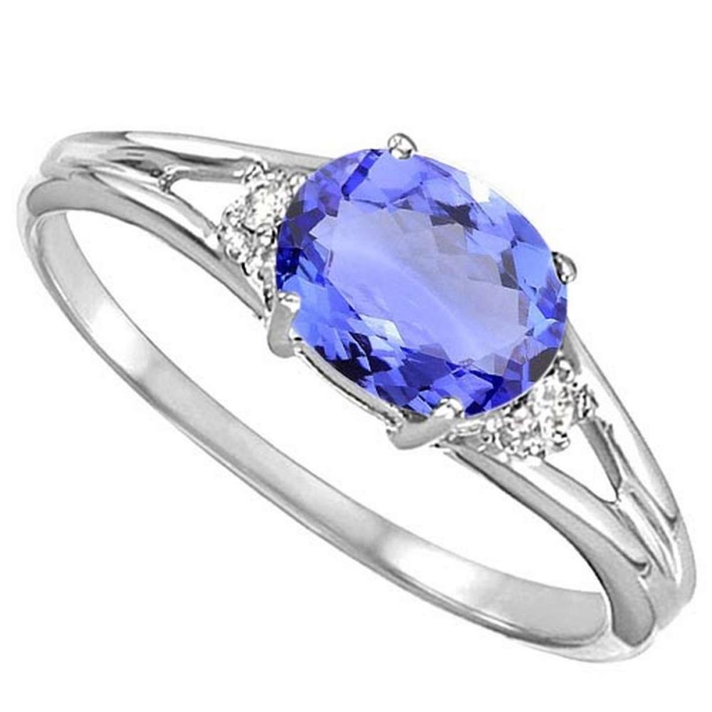 0.52 CARAT EGYPT BLUE TANZANITE & 0.02 CTW DIAMOND 10KT SOLID WHITE GOLD RING #IRS76957