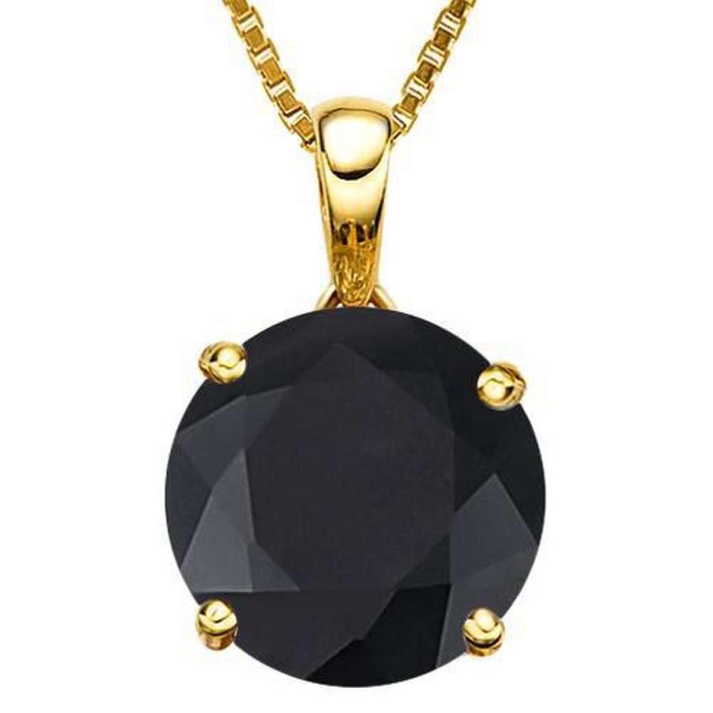 Lot 9114010: 1.0 CTW BLACK SAPPHIRE 10K SOLID YELLOW GOLD ROUND SHAPE PENDANT #IRS36954