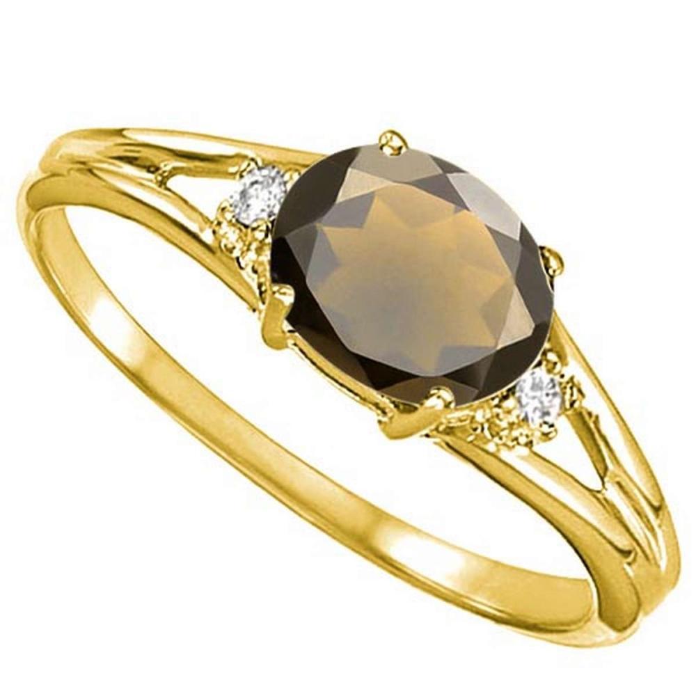 0.43 CARAT SMOKEY QUARTZ & 0.02 CTW DIAMOND 10KT SOLID YELLOW GOLD RING #IRS76970