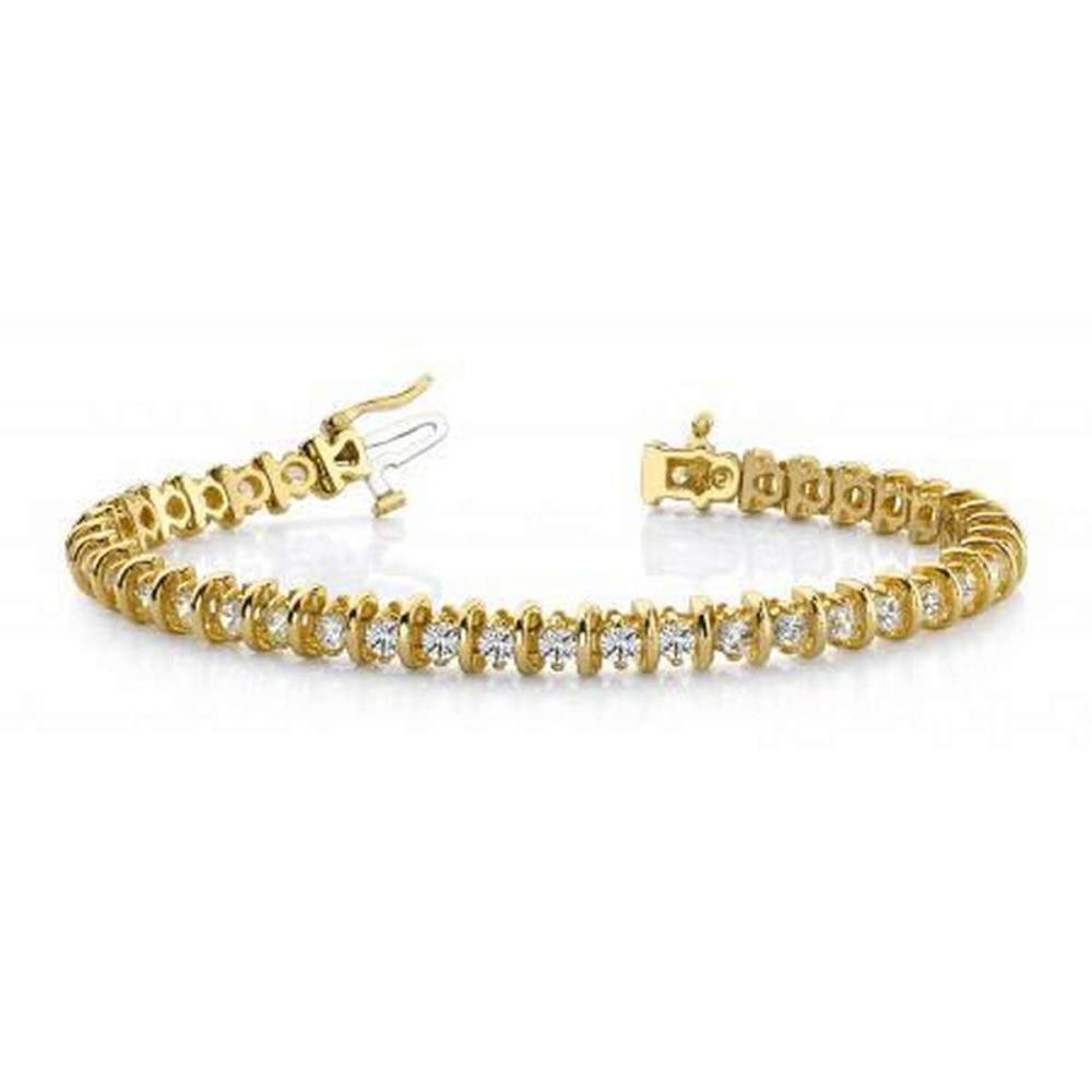 14KT YELLOW GOLD 1 CTW G-H SI2/SI3 CLASSIC CURVE LINK DIAMOND TENNIS BRACELET #IRS20251