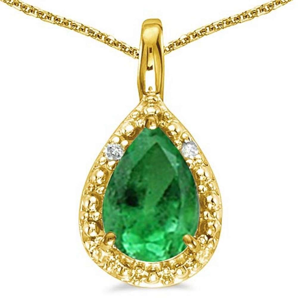 0.4 CARAT EMERALD & 0.01 CTW DIAMOND 14KT SOLID YELLOW GOLD PENDANT #IRS76988