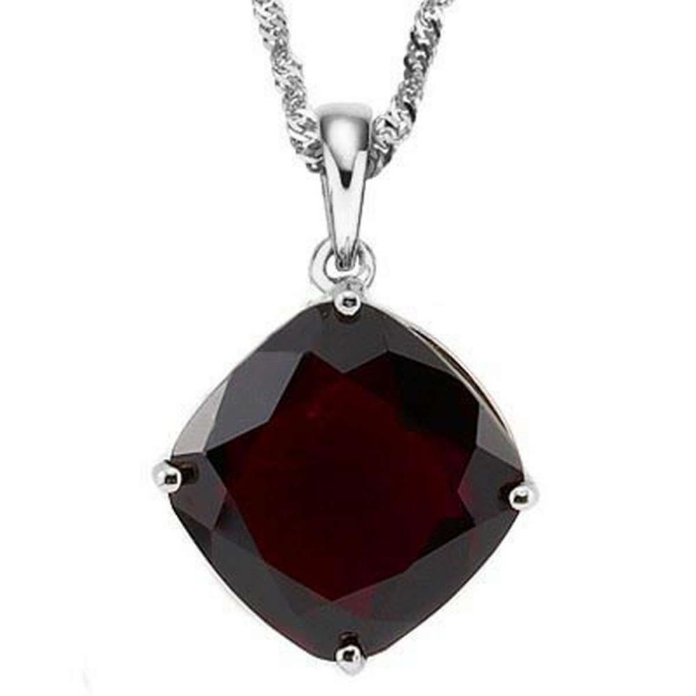 Lot 9114015: 1.05 CTW GARNET 10K SOLID WHITE GOLD CUSHION SHAPE PENDANT #IRS36891