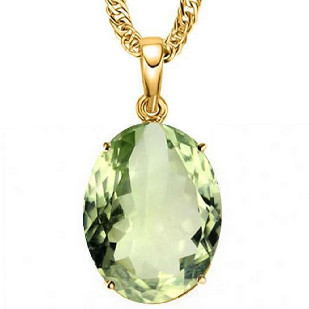 0.7 CTW GREEN AMETHYST 10K SOLID YELLOW GOLD OVAL SHAPE PENDANT #IRS36926