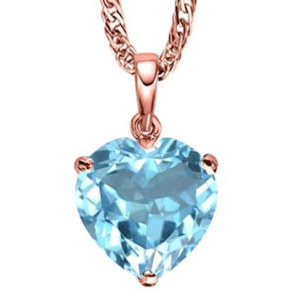 Lot 9114018: 1.06 CARAT SKY BLUE TOPAZ 10K SOLID RED GOLD HEART SHAPE PENDANT #IRS77032
