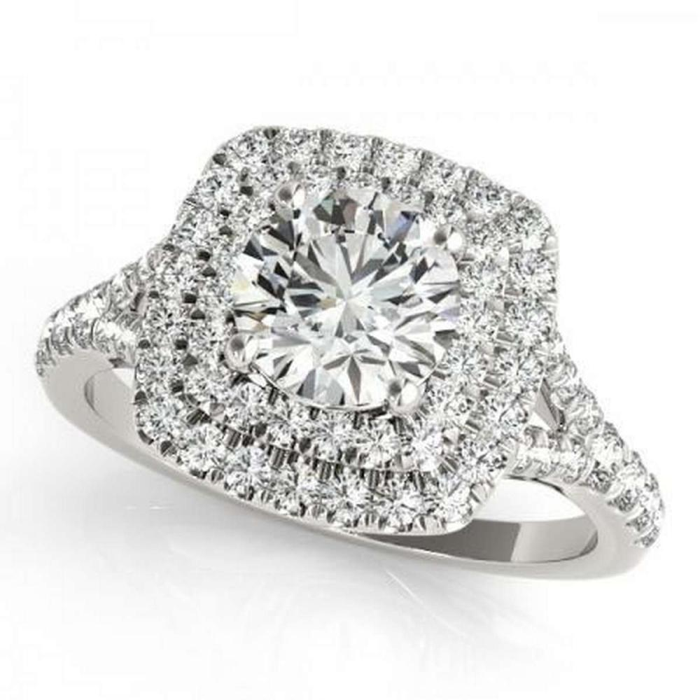 CERTIFIED 14KT WHITE GOLD 1.11 CTW G-H/VS-SI1 DIAMOND HALO ENGAGEMENT RING #IRS86715