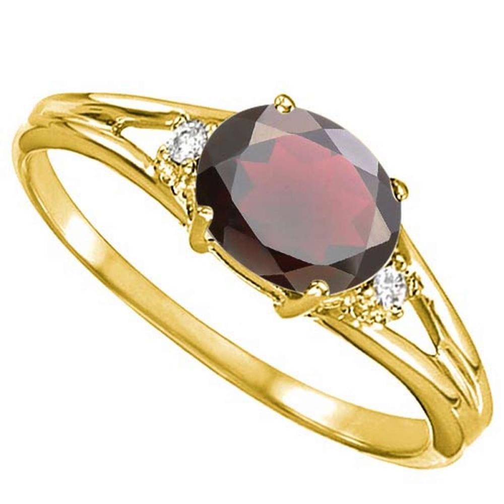 0.66 CARAT GARNET & 0.02 CTW DIAMOND 10KT SOLID YELLOW GOLD RING #IRS76964