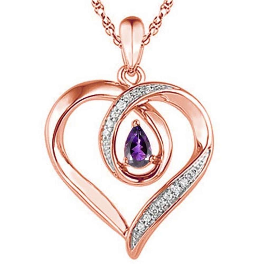Lot 9114024: 0.4 CARAT AMETHYST & CZ 14KT SOLID RED GOLD PENDANT #IRS77097