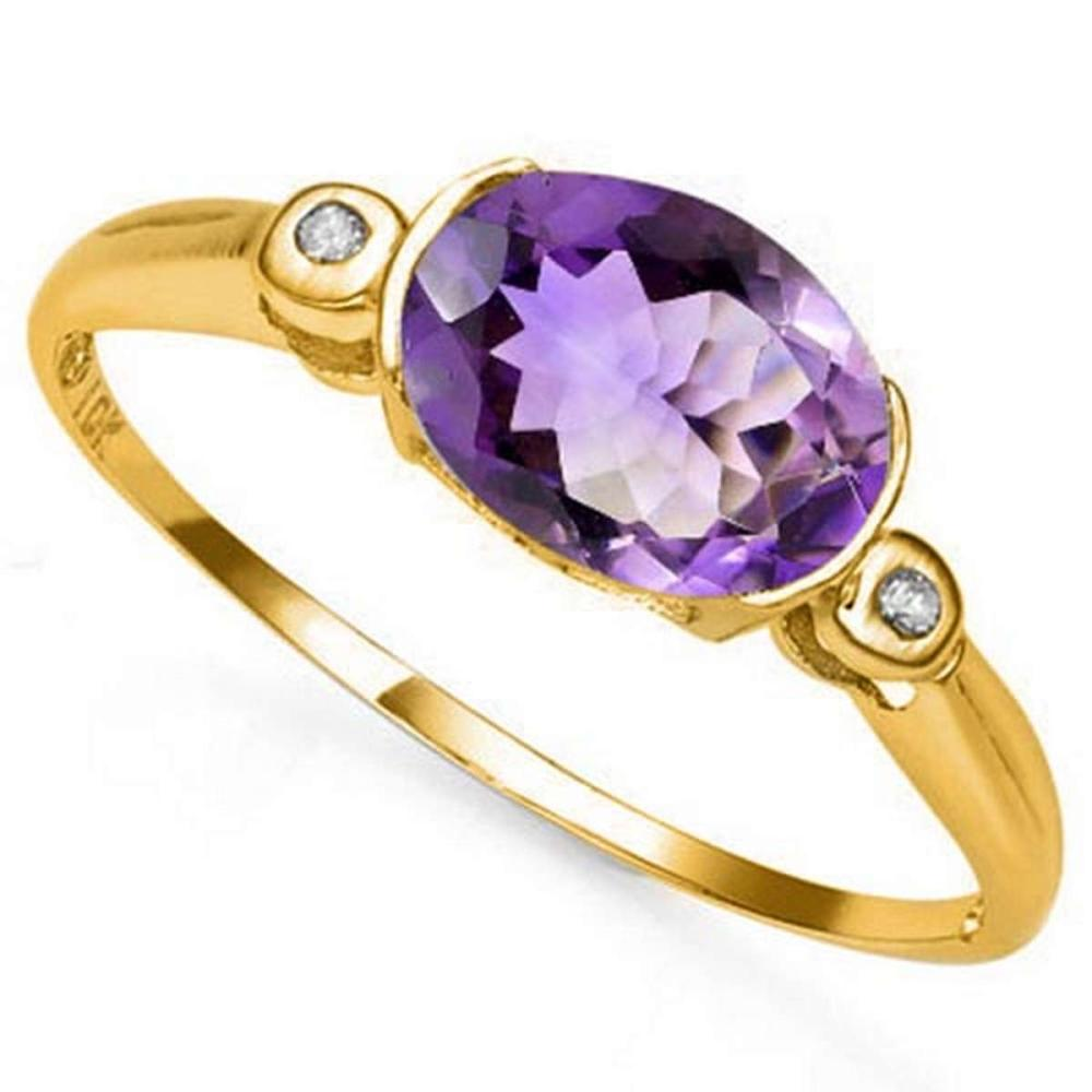 Lot 9114031: 1.00 CTW AMETHYST & GENUINE DIAMOND 10K SOLID YELLOW GOLD RING #IRS50784