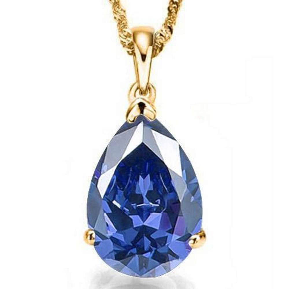 Lot 9114030: 1.1 CTW LAB TANZANITE 10K SOLID YELLOW GOLD PEAR SHAPE PENDANT #IRS36952