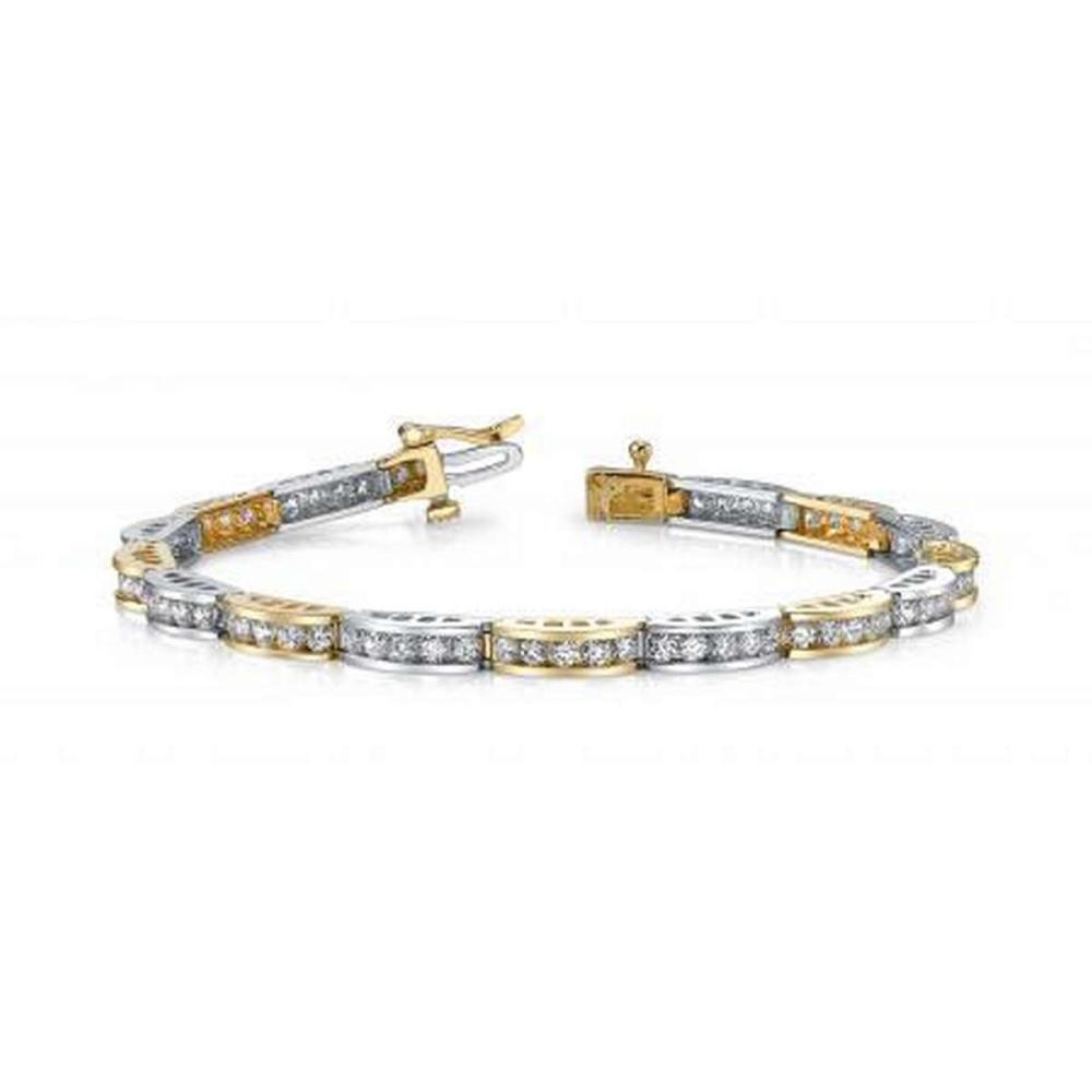 14KT TWO TONE GOLD 2 CTW G-H SI2/SI3 TWO TONE CHANNEL LINK BRACELET #IRS20261