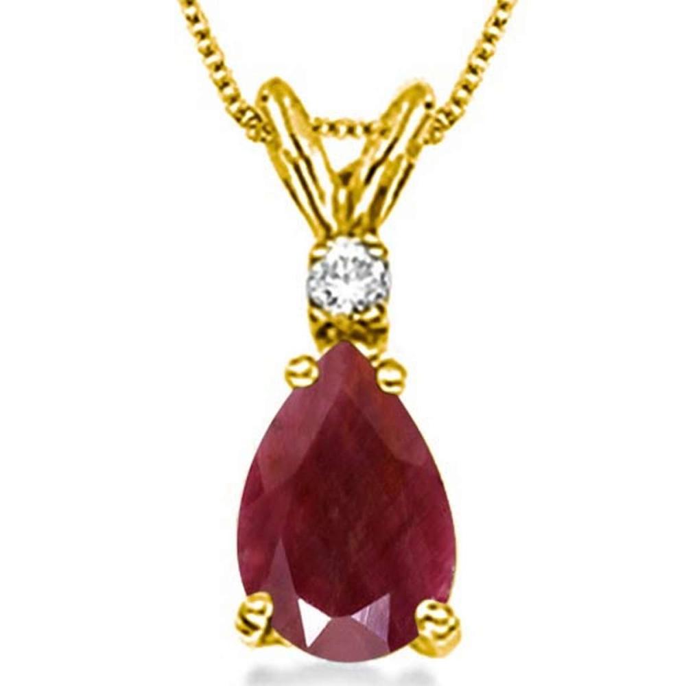 1.0 CARAT RUBY & 0.01 CTW DIAMOND 14KT SOLID YELLOW GOLD PENDANT #IRS77052