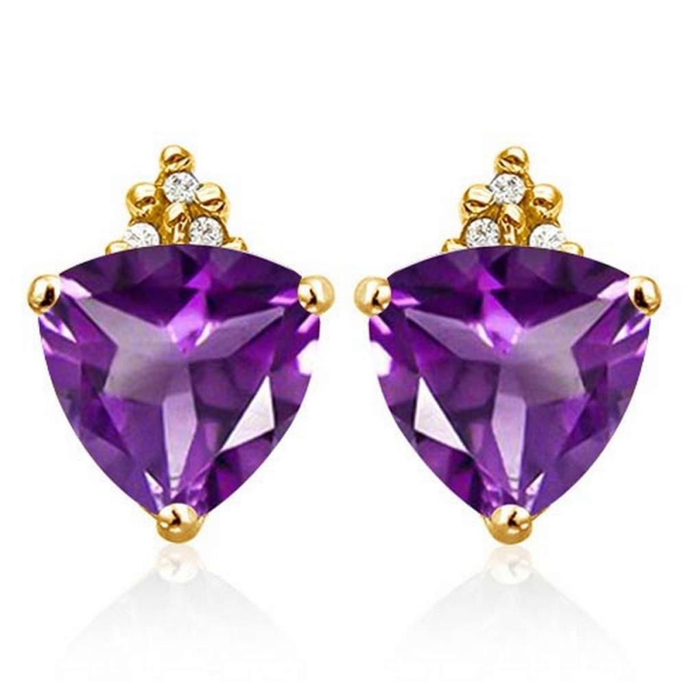 Lot 9114043: 2.0 CARAT CREATED AMETHYST 10K SOLID YELLOW GOLD TRILLION SHAPE EARRING WITH 0.03 CTW DIAMOND #IRS50318