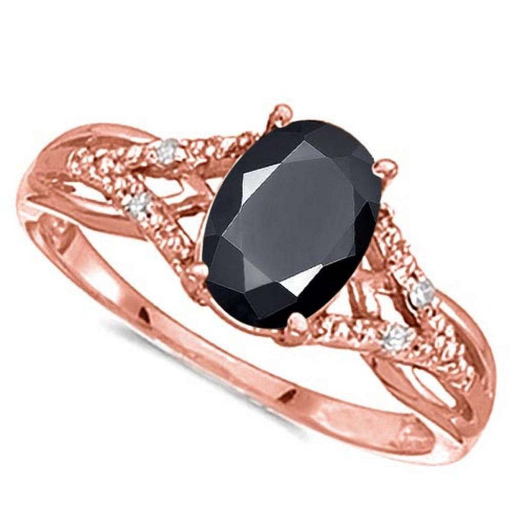 Lot 9114044: 0.95 CARAT BLACK SAPPHIRE & 0.04 CTW DIAMOND 14KT SOLID RED GOLD RING #IRS76932