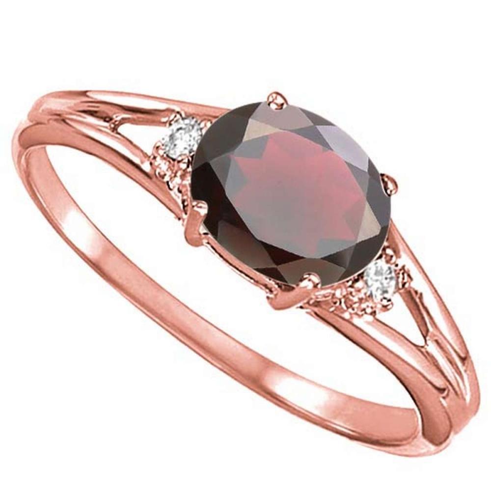 0.66 CARAT GARNET & 0.02 CTW DIAMOND 10KT SOLID RED GOLD RING #IRS76978
