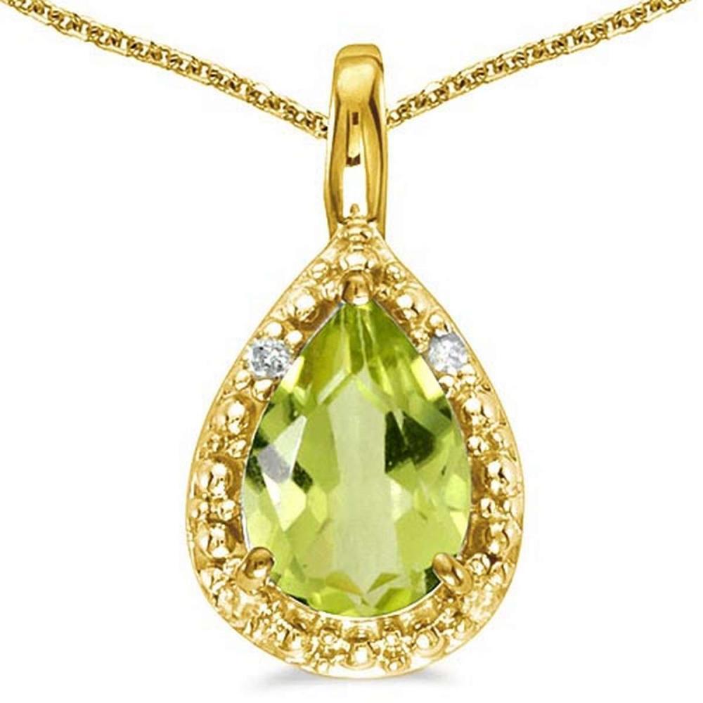 0.35 CARAT PERIDOT & 0.01 CTW DIAMOND 14KT SOLID YELLOW GOLD PENDANT #IRS76995