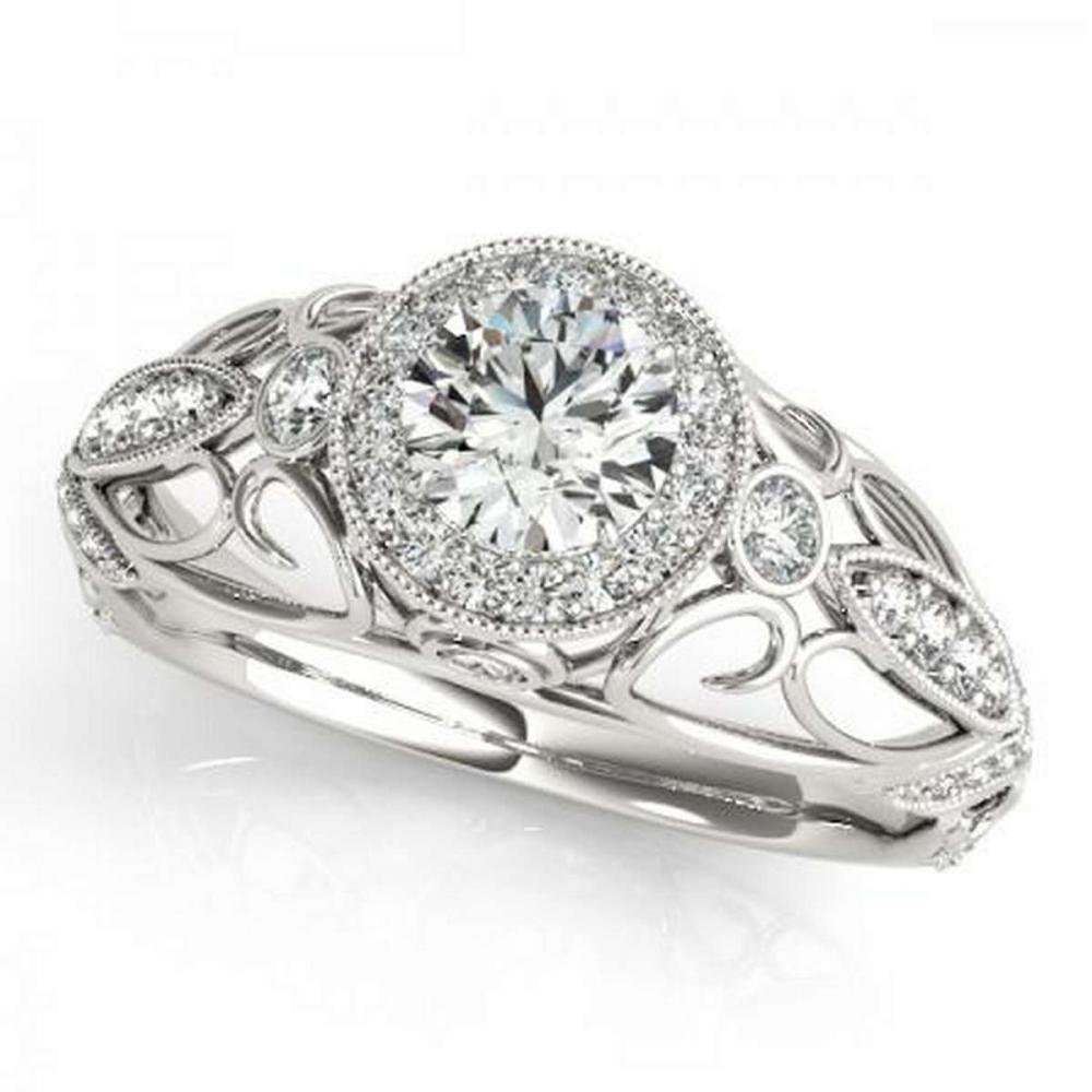 Lot 9114050: CERTIFIED PLATINUM 1.20 CTW G-H/VS-SI1 DIAMOND HALO ENGAGEMENT RING #IRS86199