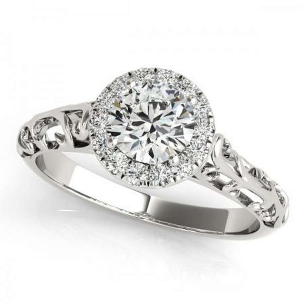 CERTIFIED PLATINUM 1.11 CTW G-H/VS-SI1 DIAMOND HALO ENGAGEMENT RING  #IRS86208