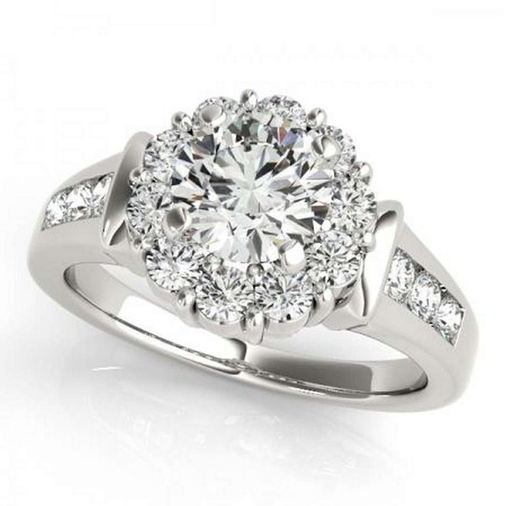 Lot 9114055: CERTIFIED PLATINUM 1.54 CTW G-H/VS-SI1 DIAMOND HALO ENGAGEMENT RING #IRS86201