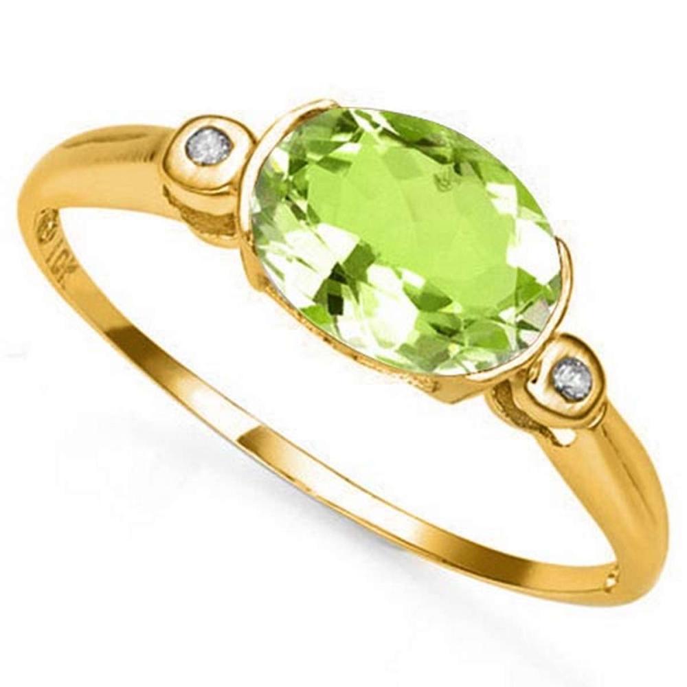 1.0 CTW PERIDOT & GENUINE DIAMOND 10K SOLID YELLOW GOLD RING #IRS50785