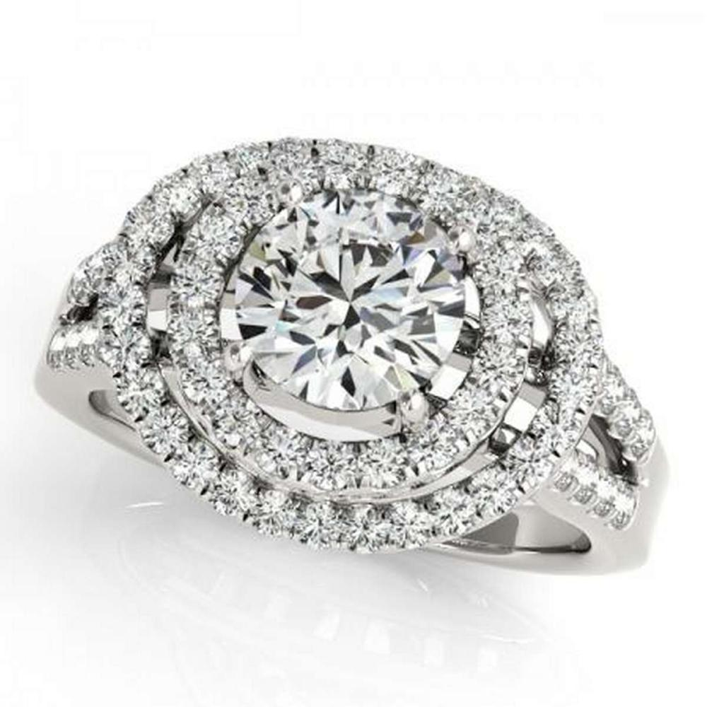 Lot 9114058: CERTIFIED PLATINUM 1.55 CTW G-H/VS-SI1 DIAMOND HALO ENGAGEMENT RING #IRS86172