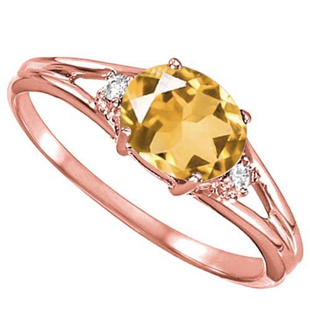 Lot 9114060: 0.43 CARAT CITRINE & 0.02 CTW DIAMOND 10KT SOLID RED GOLD RING #IRS76981