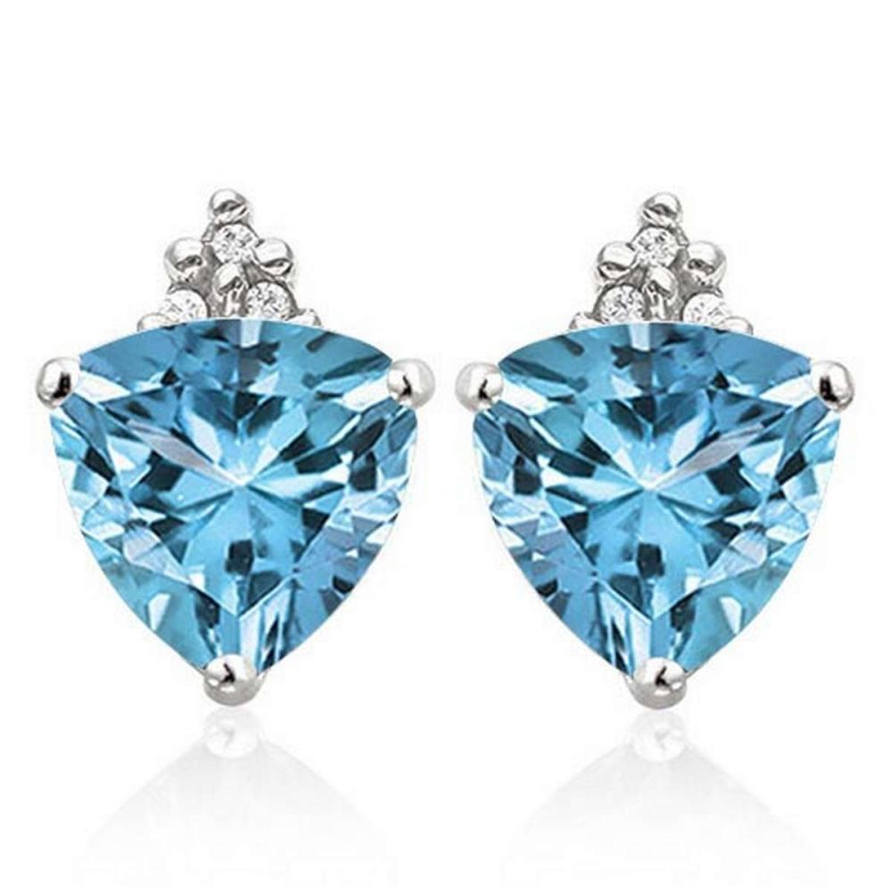 Lot 9114062: 1.55 CARAT SKY BLUE TOPAZ 10K SOLID WHITE GOLD TRILLION SHAPE EARRING WITH 0.03 CTW DIAMOND #IRS50302