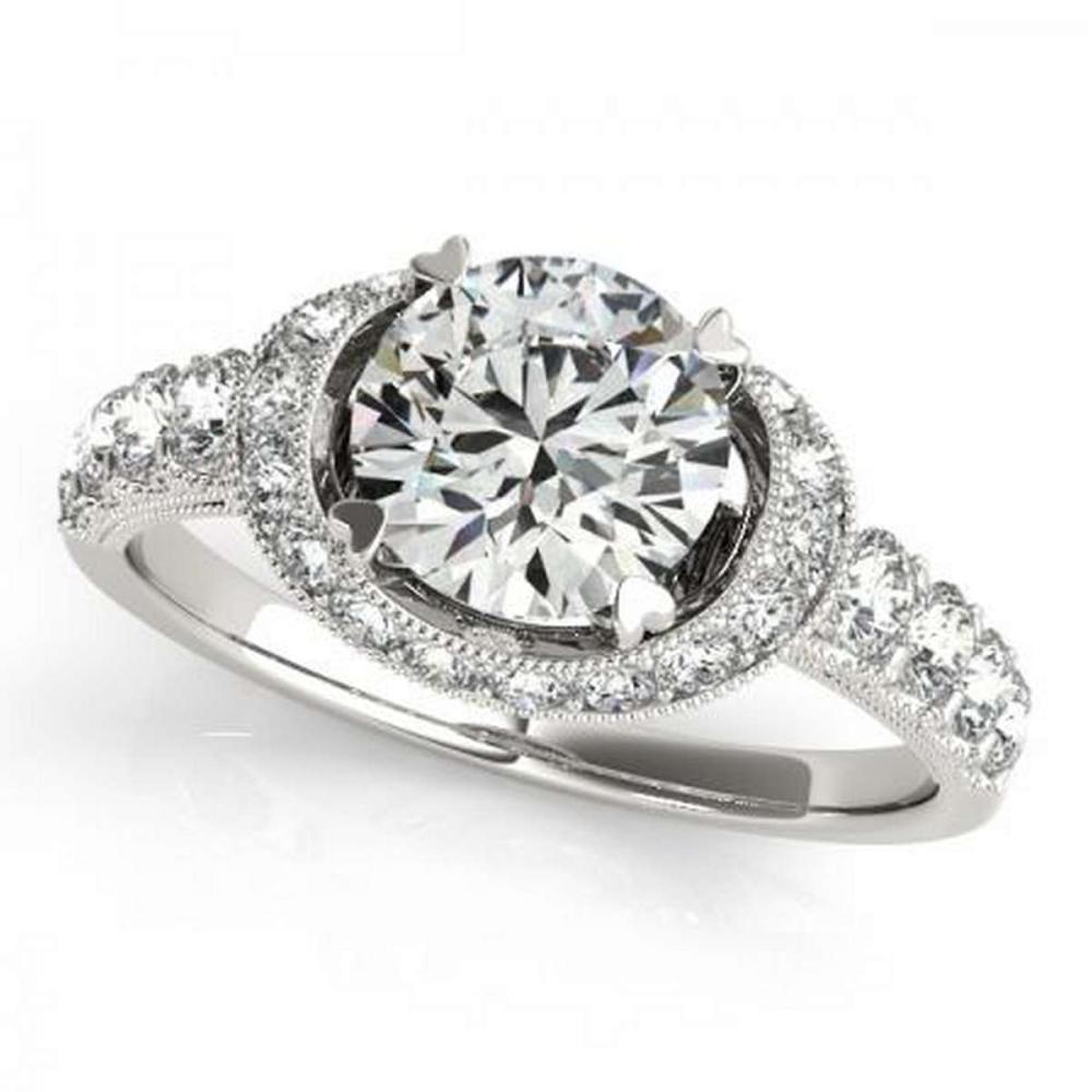 CERTIFIED PLATINUM 1.14 CTW G-H/VS-SI1 DIAMOND HALO ENGAGEMENT RING #IRS86173