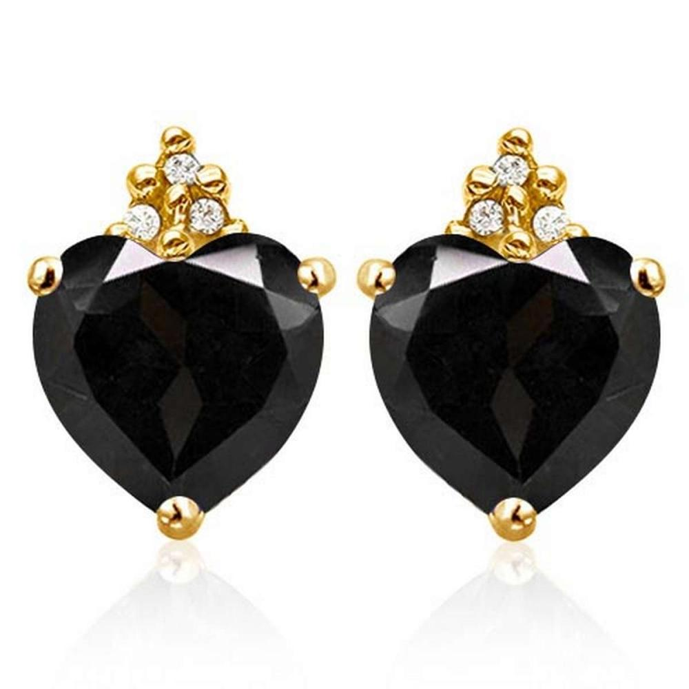 2.0 CARAT BLACK SAPPHIRE 10K SOLID YELLOW GOLD HEART SHAPE EARRING WITH 0.03 CTW DIAMOND #IRS50305