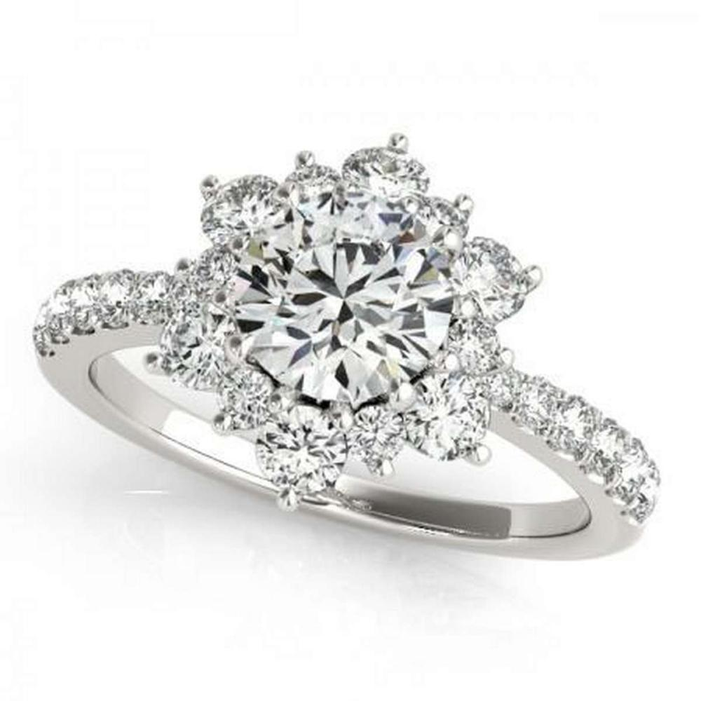 Lot 9114071: CERTIFIED 18KT WHITE GOLD 1.42 CTW G-H/VS-SI1 DIAMOND HALO ENGAGEMENT RING #IRS86706