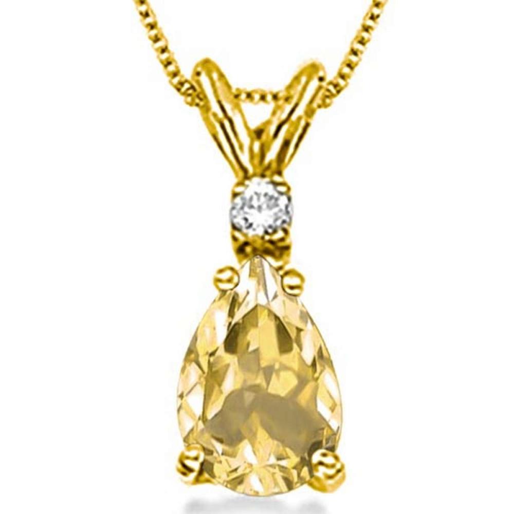 0.62 CARAT CITRINE & 0.01 CTW DIAMOND 14KT SOLID YELLOW GOLD PENDANT #IRS77064