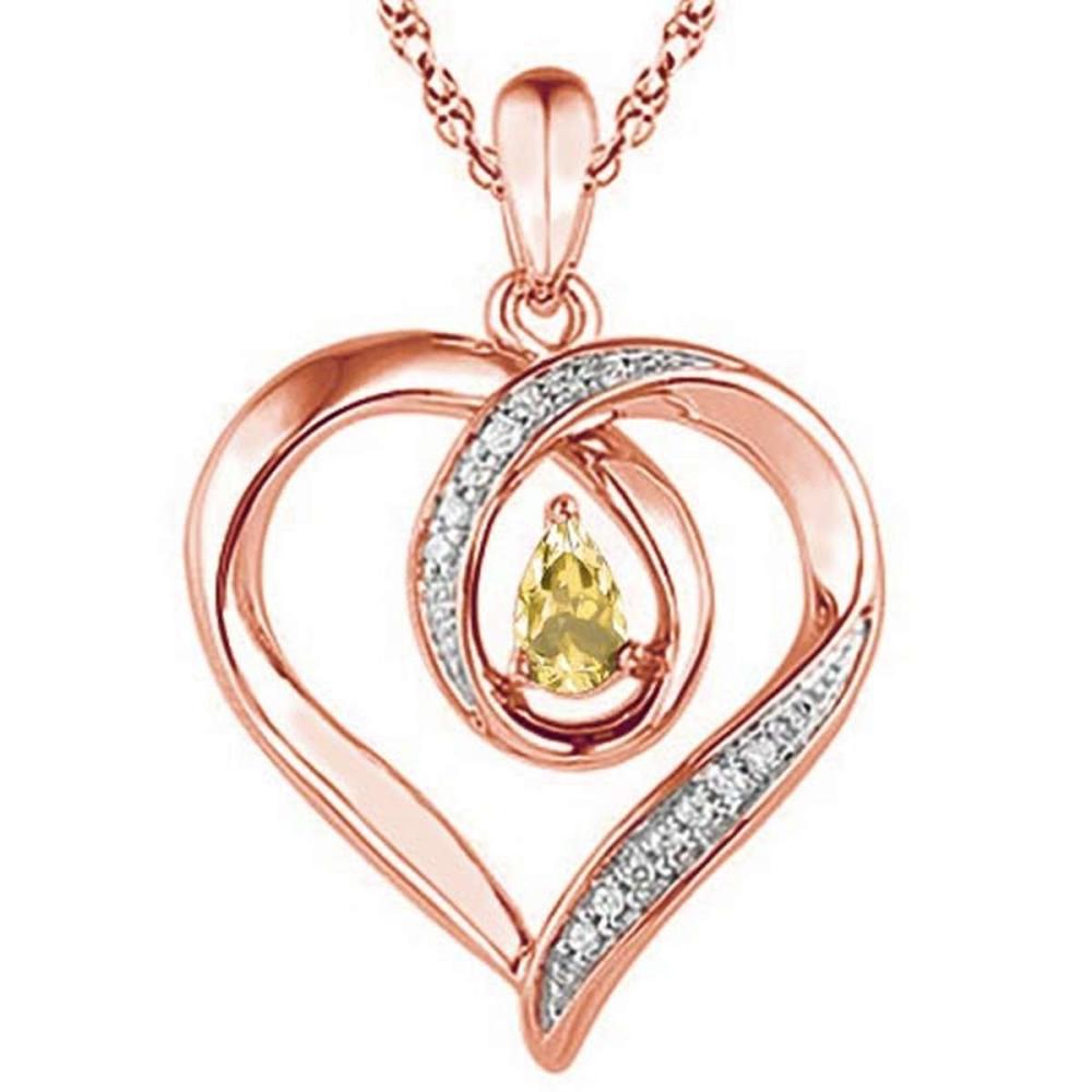 0.33 CARAT CITRINE & CZ 14KT SOLID RED GOLD PENDANT #IRS77106